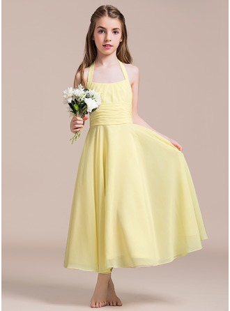 A-Line/Princess Halter Ankle-Length Chiffon Junior Bridesmaid Dress With Ruffle