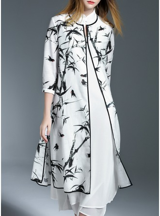 Polyester With Stitching/Print Midi Dress (Two Pieces )