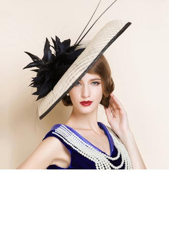 Ladies' Gorgeous Summer Cambric With Feather Bowler/Cloche Hat