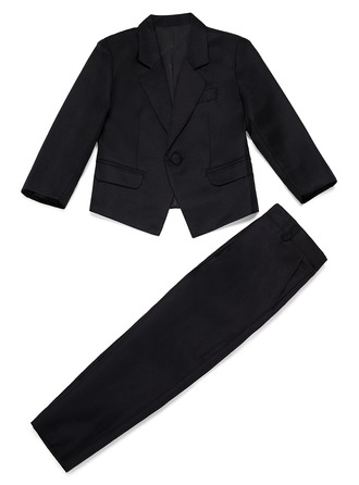 Boys Solid Ring Bearer Suits With Jacket Pants