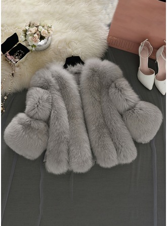 Faux Fur 1/2 Sleeves Plain Wide-Waisted Coats Coats