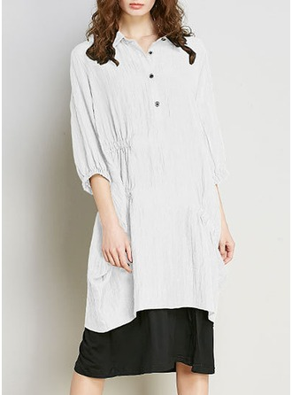 Polyester avec Couture Mi-longue Robe