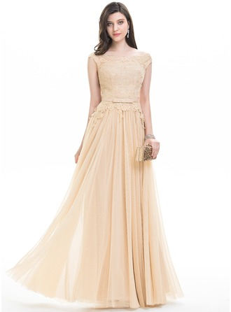 A-Line/Princess Off-the-Shoulder Floor-Length Tulle Evening Dress With Bow(s)