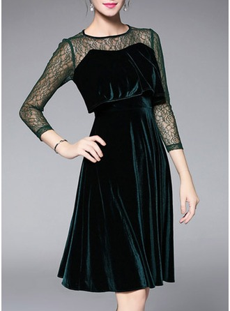 Polyester/Spandex With Lace/Stitching Midi Dress