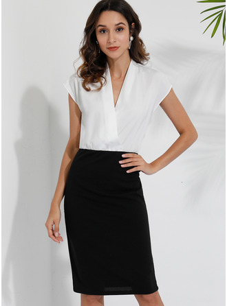Polyester With Color-block Knee Length Dress (Two Pieces)