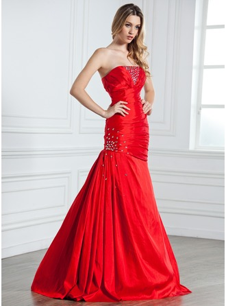 Trumpet/Mermaid Strapless Floor-Length Taffeta Evening Dress With Ruffle Beading