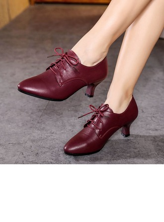 Women's Real Leather Heels Swing Dance Shoes