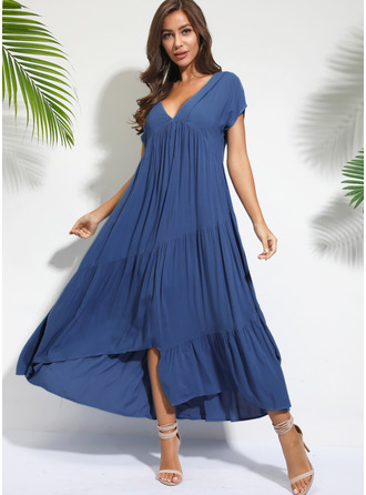Cotton With Solid Asymmetrical Dress