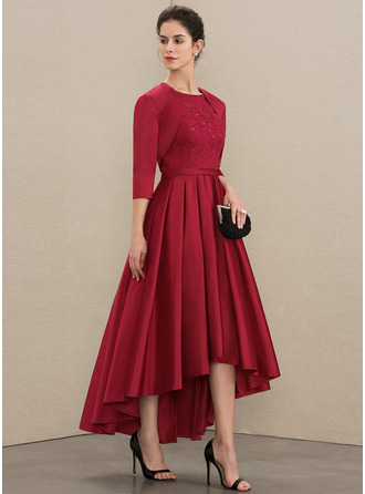 Scoop Neck Asymmetrical Satin Lace Mother of the Bride Dress