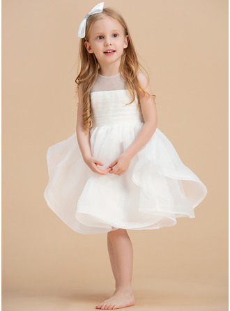 Po kolena Flower Girl Dress - Organza Bez rukávů Scoop Neck