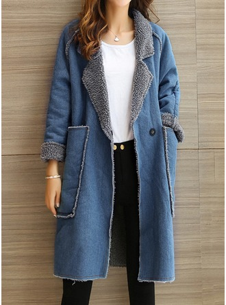 Denim Long Sleeves Plain Wool Coats