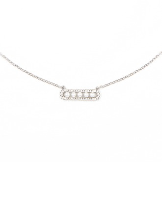 Silver Cubic Zirconia Bar Pearl Necklace For Women For Girl
