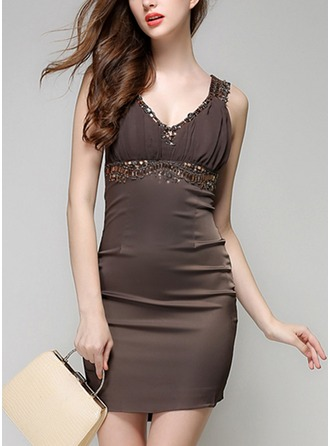 Polyester With Sequins/Stitching Above Knee Dress
