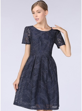 Cotton/Lace With Stitching Above Knee Dress
