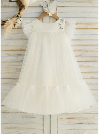 Knee-length Flower Girl Dress - Satin Tulle Sleeveless Scoop Neck With Ruffles
