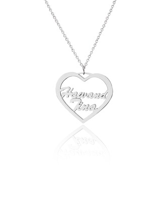 Custom Sterling Silver Heart Two Name Necklace