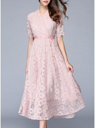Lace With Bowknot/Hollow Midi Dress