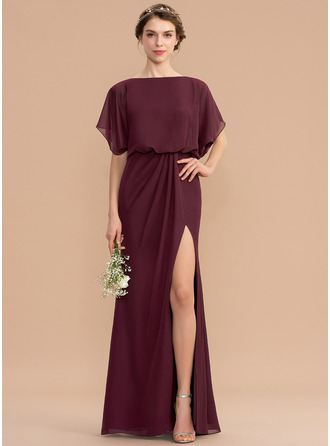 Sheath/Column Scoop Neck Floor-Length Chiffon Bridesmaid Dress