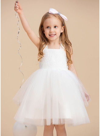 Knee-length Flower Girl Dress - Tulle Sleeveless Straps