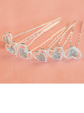 Belle Strass/Alliage épingles à cheveux (Lot de 6)