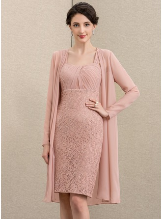 Sheath/Column Sweetheart Knee-Length Chiffon Lace Mother of the Bride Dress