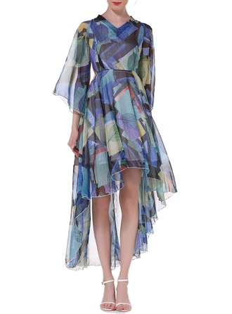 Chiffon With Print Asymmetrical Dress