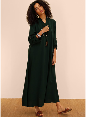 Chiffon With Button/Solid Maxi Dress