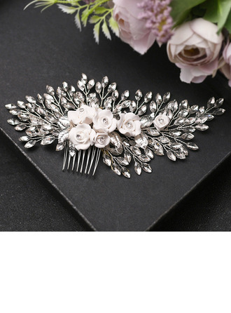 Ladies Gorgeous Rhinestone/Alloy/Polymer Clay Combs & Barrettes With Rhinestone (Sold in single piece)