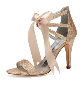 Women's Sparkling Glitter Stiletto Heel Peep Toe Pumps Sandals With Bowknot Rhinestone Sequin Sparkling Glitter
