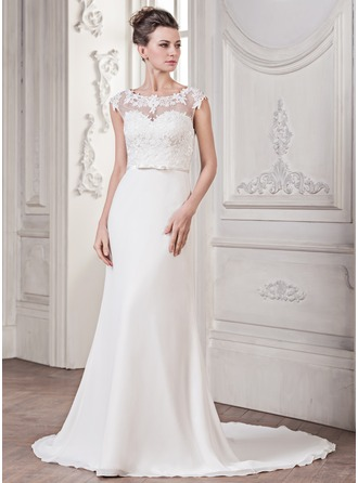 Trumpet/Mermaid Scoop Neck Court Train Chiffon Wedding Dress With Appliques Lace Bow(s)