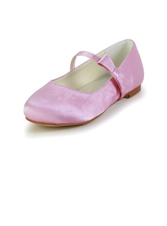 Kids' Satin Flat Heel Closed Toe Flats With Bowknot