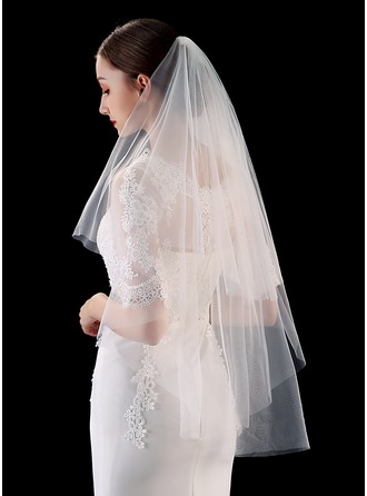 Two-tier Cut Edge Elbow Bridal Veils