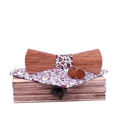 Classic Modern Wood Bow Tie Cufflinks Pocket Square