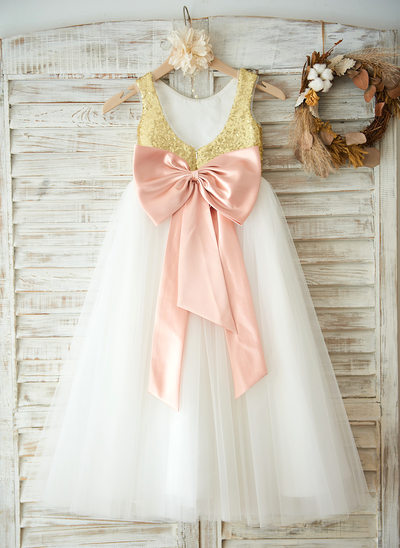 A-Line/Princess Floor-length Flower Girl Dress - Tulle/Sequined Sleeveless Scoop Neck With Bow(s)/V Back