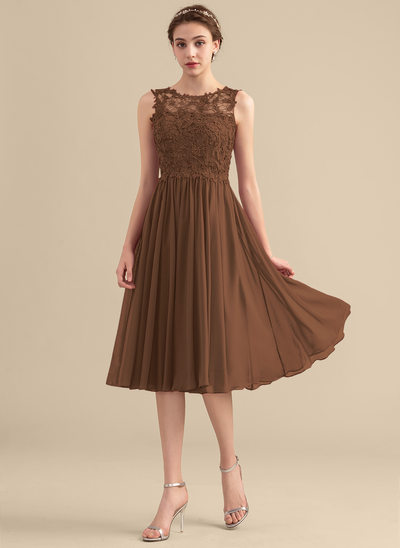 A-Line Scoop Neck Knee-Length Chiffon Lace Homecoming Dress With Beading Sequins