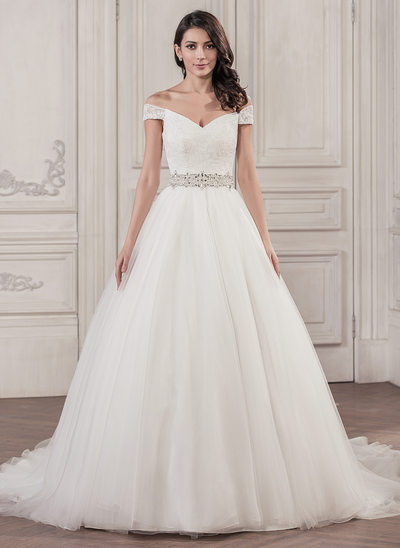 Ball Gown Off The Shoulder Cathedral Train Tulle Lace Wedding Dress With Beading