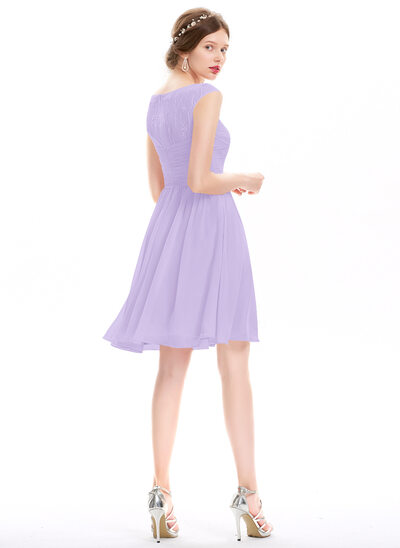 A-Line Scoop Neck Knee-Length Chiffon Homecoming Dress With Ruffle Lace Beading Sequins