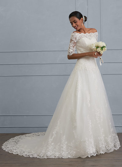 Ball Gown Off The Shoulder Court Train Tulle Lace Wedding Dress With Beading