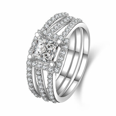 Halo Stackable Cushion Cut 925 Silver Bridal Sets