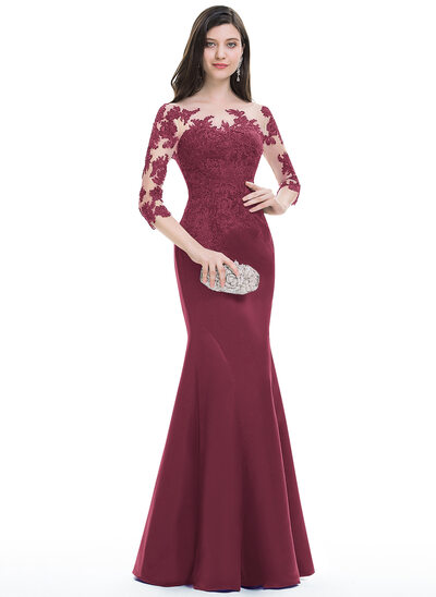 Trumpet/Mermaid Scoop Neck Floor-Length Satin Evening Dress