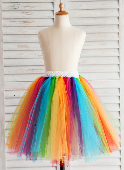 A-Line/Princess Knee-length Flower Girl Dress - Tulle With Pleated