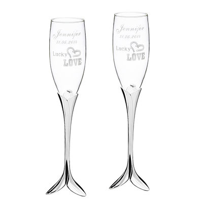 Groom Gifts - Personalized Elegant Glass Champagne Flutes