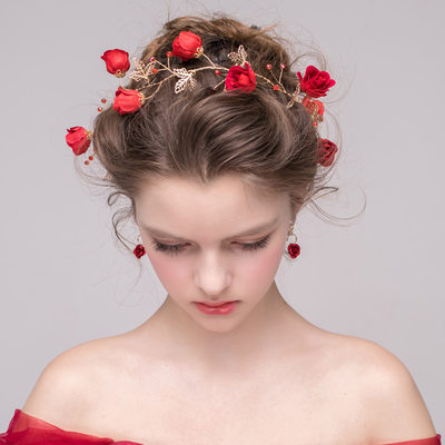 Ladies Elegant Crystal/Alloy/Silk Flower Headbands With Crystal