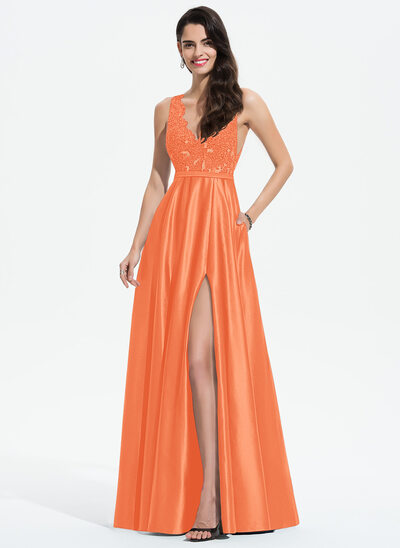 A-Line V-neck Floor-Length Satin Prom Dresses With Lace Sequins Split Front Pockets