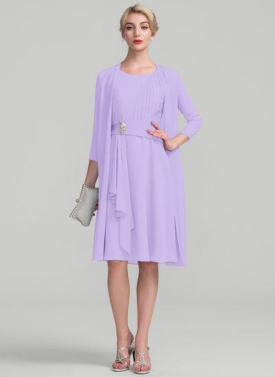 A-Line/Princess Scoop Neck Knee-Length Chiffon Mother of the Bride Dress With Beading Cascading Ruffles