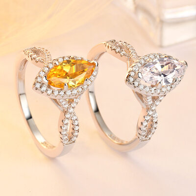 925 Sterling Silver With Marquise Cubic Zirconia Rings/Promise Rings/Stackable Rings For Bride