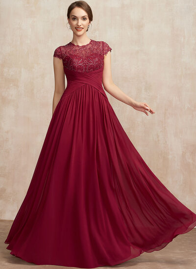 A-Line Scoop Neck Floor-Length Chiffon Lace Evening Dress With Ruffle Sequins