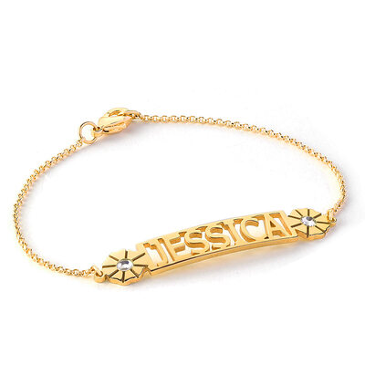 [Free Shipping]Christmas Gifts For Her - Custom 18k Gold Plated Sterling Silver Delicate Chain Name Bracelets Birthstone Bracelets With Flower (106219658)