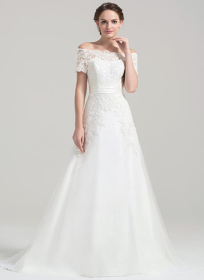 A-Linie/Princess-Linie Off-the-Schulter Hof-schleppe Tüll Lace Brautkleid