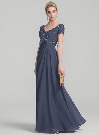 A-Line/Princess V-neck Floor-Length Chiffon Lace Mother of the Bride Dress With Ruffle Beading